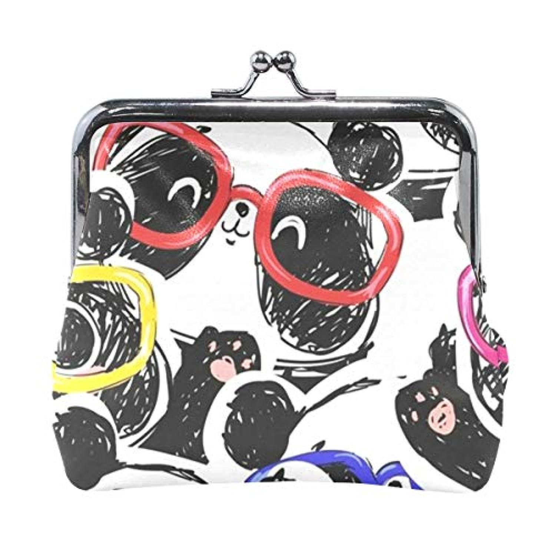 がま口 小銭入れ 財布 メガネパンダ コインケース レザー製 丸形 軽量 人気 おしゃれ プレゼント ギフト 雑貨