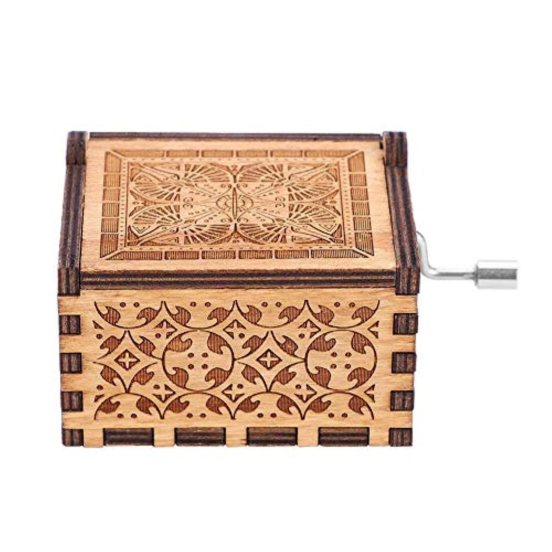 Akozon 木製ハンドクランクオルゴール メカニカルクラシッククラフト 誕生日ギフト 1個