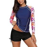 EVALESS Women Long Sleeve Rashguard Top Swimwear Rash Guard Athletic Tankini No Bottoms S - XXXL