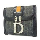 Christian Dior (クリスチャン ディオール) Christian Dior トロッター キャンバス×レザー Dロゴ金具 Wホック 二つ折り 財布 ブラック 26642eSaM 中古