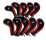 【ノーブランド品】高級 刺繍 入り アイアンカバー ファスナー タイプ 10個 セット ブラック × レッド