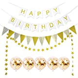 Orasu 誕生日 飾り付け 超豪華 ゴールド系 HAPPY BIRTHDAYガーランド ペーパーファン ペーパーフラワー 風船 女の子 バルーン セット