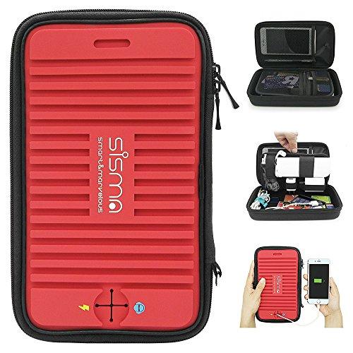Sisma トラベルポーチ スマホ・PC周辺小物整理 旅行 出張 収納ポーチ 赤 SCB16128S-WB-R