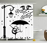Ambesonne Cat Decor Shower Curtain, Funny Kitty with Umbrella Dancing under Street Lantern in Town Urban Humor Print, Fabric Bathroom Decor Set with Hooks, 70 Inches, Black White [並行輸入品]