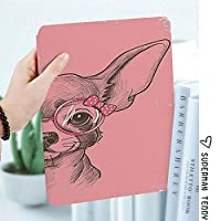軽量版IPad ケース iPad2 ケース iPad3 ケース iPad4 ケース スタンド機能 レザー(PU) オートスリープ 傷つけ防止 2つ折タイプ iPad2/3/4世代専用スマートカバーファッションファッションメガネリボンリボン子犬装飾的な女の子チワワスケッチ図