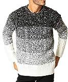 JIGGYS SHOP (ジギーズショップ) ニット セーター メンズ ニット クルーネック ケーブル編み 厚手 長袖 防寒 M A グラデーション