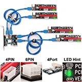 UbitマルチインタフェースPCI-Eライザー(Led通知付き)機能Expressケーブル1X?16XグラフィックスエクステンションETHマイニングパワーライザーアダプターカード+ 60cm USB 3.0ケーブル+ 4ポート転送アダプター