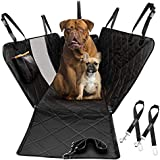 OMORC Dog Car Seat Cover & 2 Seat Belts, Reinforced Pet Car Seat Cover with Mesh Window & Storage Pocket, Scratch Proof & Anti-Slip,Easy to Install & Clean,Hammock with Side Flaps of Car/Truck/SUV