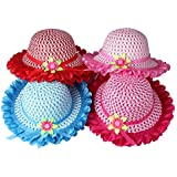 Girls Sunflower Straw Tea Party Hat Set (8 Pcs, Assorted Colours)