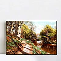 """Framed Canvas Road by the river#58 by Peder Mork Monsted Wall Art Living Room Home Office Decorations(Black Slim Frame,28""""x40"""")"""