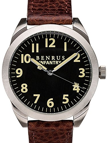Benrusメンズbr024-a Infantry Watch with Brownレザーバンド