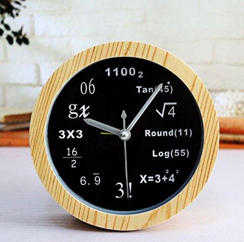 理系専用 数学 テーブルクロック ウッドブラック