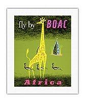 アフリカ - アフリカのキリンとガゼル - BOAC(英国海外航空)によりフライ - ビンテージな航空会社のポスター によって作成された ラバン c.1956 - キャンバスアート - 41cm x 51cm キャンバスアート(ロール)