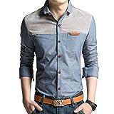 (オリログ)ALLYLOG メンズ カジュアルシャツ ポケット付き 切り替え デザイン デニム シャツ 長袖 おしゃれ 大きいサイズ 通勤 (3XL-日本XL, Tブルー)