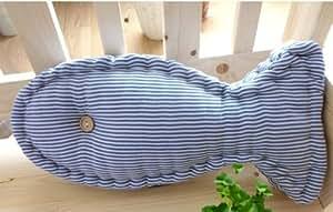 オシャレで かわいい ストライプ さかな型 クッション 抱き枕 ボーダー柄 マリン風 (ライトブルー)