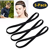 [3 Pack] Heyus Anti-Slip Thin Elastic Black Sports Headbands Yoga Head Band Sweatband Sweat Band for Men and Women nisex-Adult