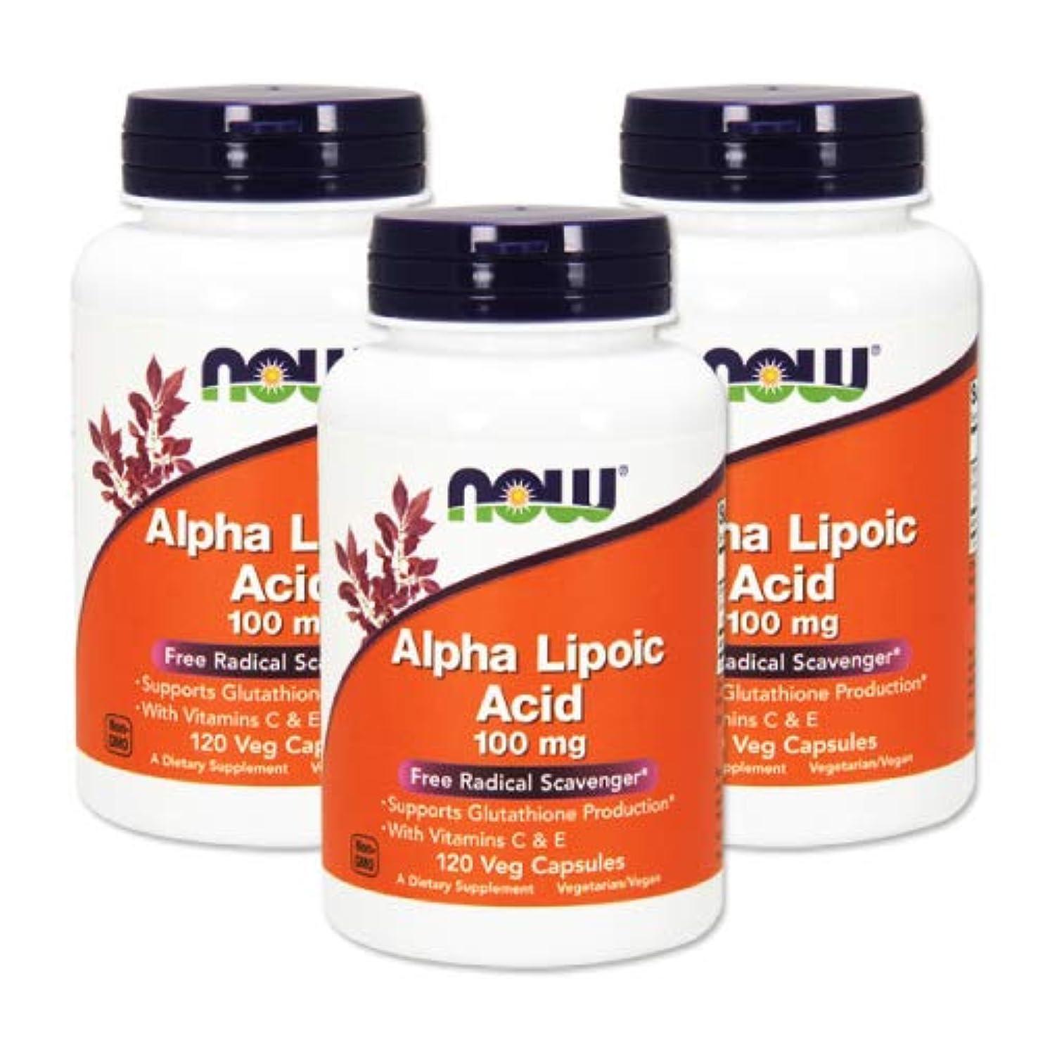 段階すり減るロースト3個セット アルファリポ酸 100mg 120粒 NOWαリポ酸 [海外直送品]
