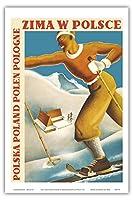 ポーランドの冬 - ポリッシュ - ポーランド - ビンテージな世界旅行のポスター によって作成された ミークツィスワウ・ルザンスキー・アンド・R. ヴィウカン c.1935 - アートポスター - 31cm x 46cm