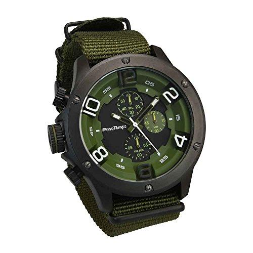 [フランテンプス]Franc Temps 腕時計 ガヴァルニ クロノグラフ ナイロンベルト (オリーブ) メンズ FTGC-N-OD