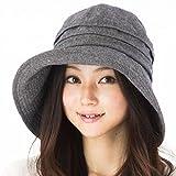 クイーンヘッド 小顔効果 エレガントUVハット 帽子 UVカット レディース 大きいサイズ つば広 ハット 紫外線カット 女優帽 (BIGサイズ63cm チャコール)