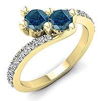 1.00カラット(CTW14Kゴールドラウンドブルー&ホワイトダイヤモンド2石バイパスブライダル婚約リング1CT
