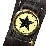 DUSTSTROKE ( ダストストローク ) 本革 牛革 レザー ヴィンテージ 加工 ワイド 太 ベルト 腕時計 星 ( 2 カラー ) リストバンド メンズ ユニセックス レディース アンティーク 革 カジュアル ストリート 黒 茶 ブラック ブラウン (ブラック)