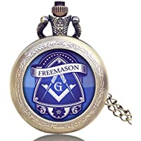 Men's Pocket Watch, Bronze Vintage Masonic Freemason Freemasonry Pocket Watch, Necklace Gift for Men