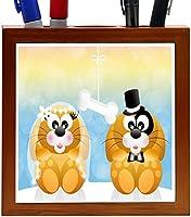 Rikki Knight Dogs in Love Wedding Illustration Design 5-Inch Tile Wooden Tile Pen Holder (RK-PH44623) [並行輸入品]