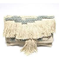 【Swaraj Bag】手織りジャガードフリンジクラッチ-GRAY