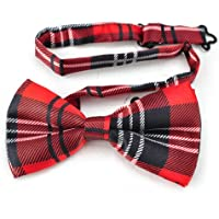 TopTie Unisex Fashion Black and Red Plaid Tartan Bow tie