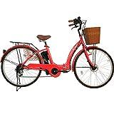 26インチ 折りたたみ 電動アシスト自転車 パステル F シマノ6段変速ギア 5Ahリチウムイオンバッテリー 折りたたみ自転車 型式認定車両(TSマーク) (RED)