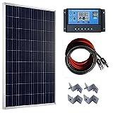 ECO-WORTHY 100W ソーラーパネル + 20A LCD チャージコントローラー+ 10mケーブル(プラス5m+マイナス5m) + Z 取付金具