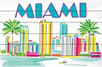 Marmont Hill mh-molros-102-ww-18Miami 6by Molly Rosner Painting onホワイトウッド18x 12Miami 6by Molly Rosner Painting onホワイトウッド18x 12 36x24 MH-MOLROS-102-WW-36