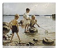 Albert Edelfelt 伸びた ジクレー キャンバスに印刷-有名な絵画 美術品 ポスター -再生 壁の装飾 ハングする準備ができて(海岸で遊ぶ男の子)#NK
