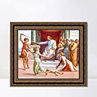 "INVIN ART Framed Canvas Art Giclee Print Series#121 by Raphael/Raffaello Sanzio Wall Art Living Room Home Office Decorations(Vintage Embossed Gold frame,28""x40"")"