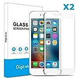 【2枚セット】Iphone7(白)用ガラスフィルム 3D曲面炭素繊維ソフトエッジ 高硬度9H 超薄 気泡防止 ディスプレー全面カバー  Digit Whale