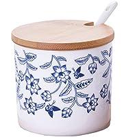 Ceramicsブルーとホワイト中国Flower Sugar Salt PepperストレージJar/Oil Can蓋、スプーンベーストレイ free