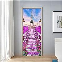Xbwy Pvc自己接着防水3D壁紙現代のロマンチックなラベンダー鉄塔写真壁画壁のステッカーリビングルームの家の装飾3D-400X280Cm