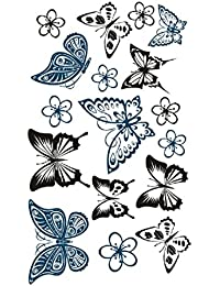 タトゥーシール 蝶 2枚セット バタフライ 入れ墨 トーテム カラーアート タトゥーステッカー (専用クリーンワイプ付き)