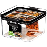 Sistema Tritan Ultra Collection Square Storage Container, 1.9 Cup/15.5 oz, Clear with White/Gray