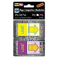 "Redi-Tag - Pop-Up Fab Flags W/Dispenser,""Look"", Purple/Yellow; Yellow/Teal, 100/Pack 72039 (DMi PK"