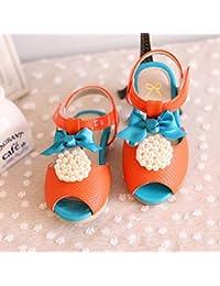 大子供靴女の子用フォーマルシューズキッズフォーマルサンダル orange,140