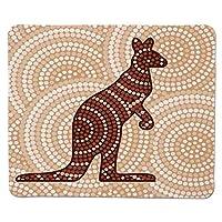 マウスパッド熱帯動物、アボリジニネイティブカンガルーエスニックデザインの周りの古代の丸い点、クリームブラウンステッチエッジノンスリップラバー