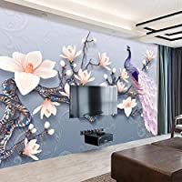 Xueshao 写真3D壁紙エンボスマグノリア孔雀ヨーロッパスタイル壁画リビングルームのソファホームデコレーション防水壁絵画-350X250Cm