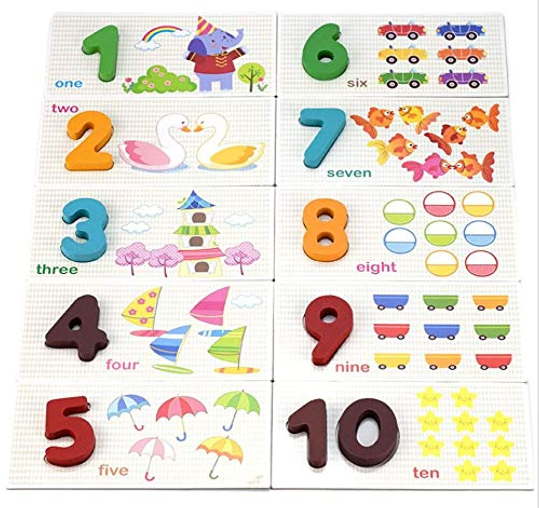 Queenie 木製 1-10 アラビア数字 デジタルペーパーボード ジグソーパズル おもちゃ 幼児 子供 教育 学習 パズルゲーム