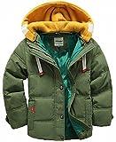 (チーアン)Tiann 子ども ダウンジャケット ダウンコート 中綿コート キッズ 防寒 フード付き アウター 男の子 冬 ボーイズ グリーン