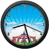 雲と旅のサーカステントと澄んだ空の祭りの幸福の壁掛け時計のミュート家の装飾電池式の時計12インチ(約30cm)