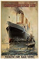 """Vintage Ocean Liner Reproduction Gicleeポスター"""" hamburg-american Linie–s.s. Imperator、Worlds Larges Ship。」 12x18"""