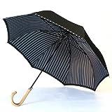 槙田商店 傘 メンズ 長傘 Tie 表 無地 × 裏 ストライプ 高級 甲州織 親骨 65cm ジャンプ 日本製