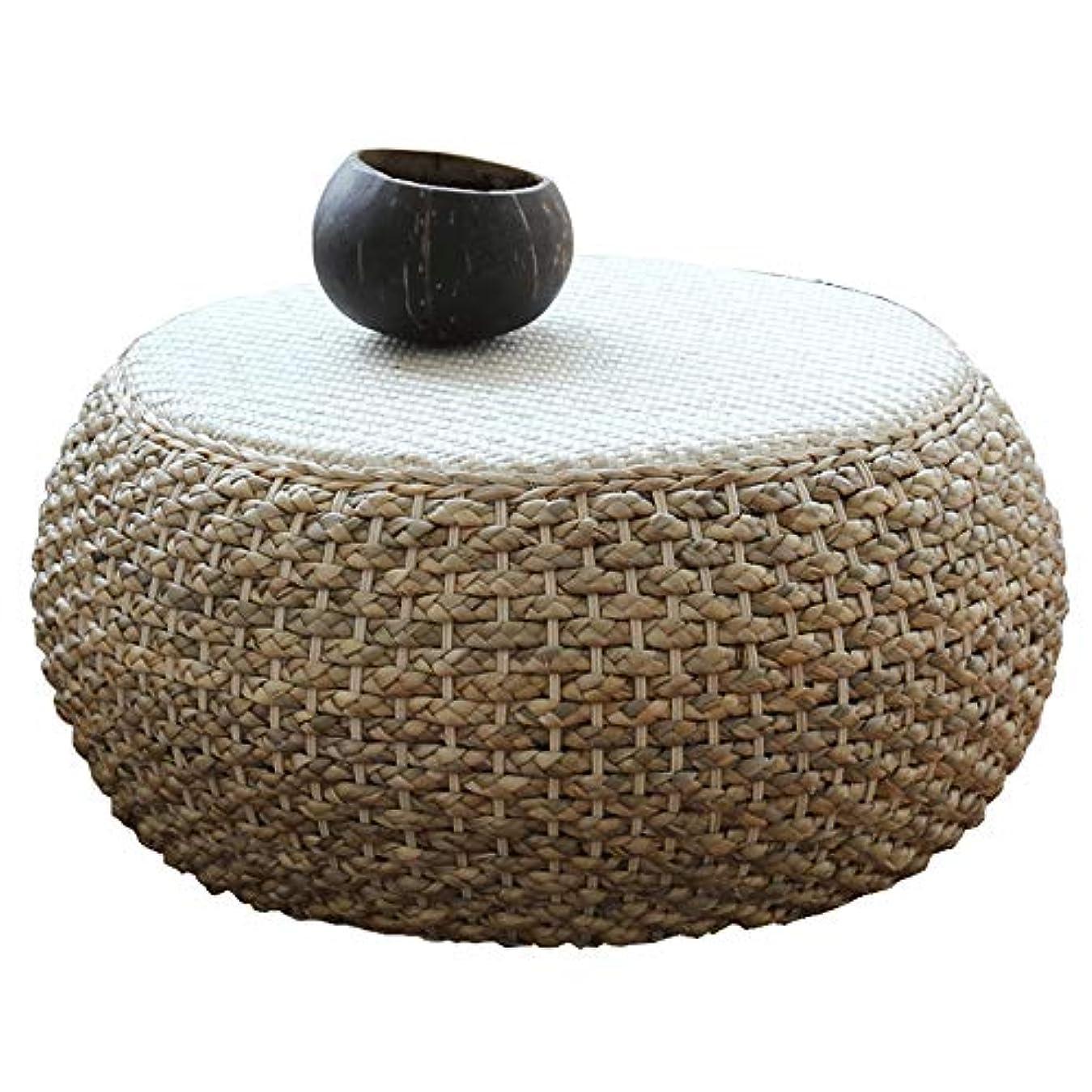 呼びかけるビンハンバーガー日本の籐ラウンド手作りコーヒーテーブル畳無垢材小さなつるティーテーブルウィッカーベイウィンドウローテーブル